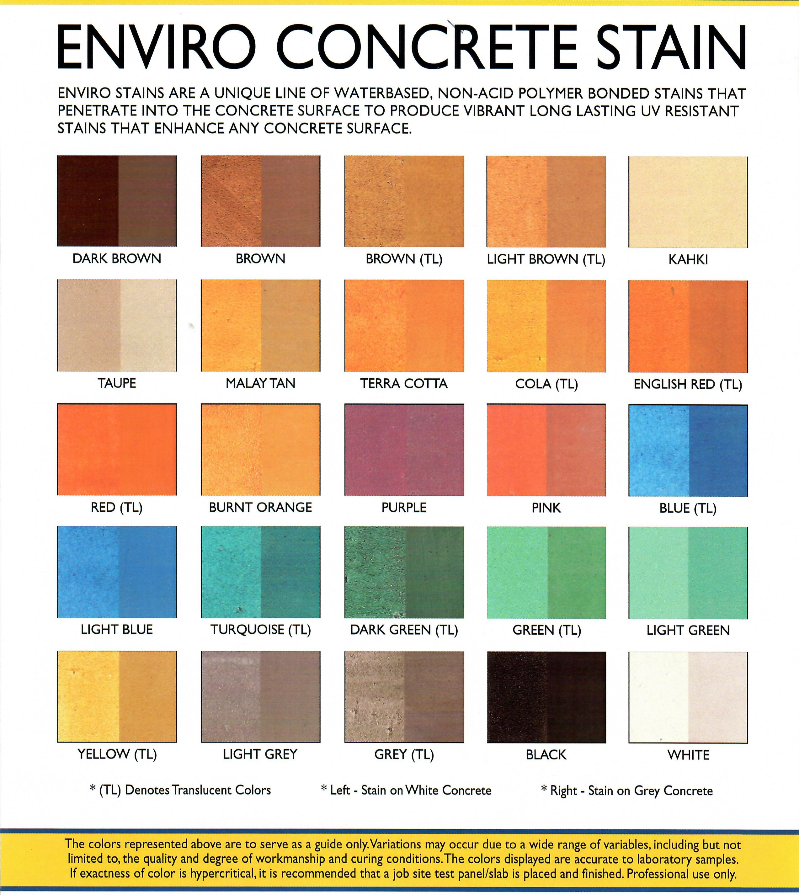 Njv decorative concrete supply enviro stains are a unique line of waterbased non acid polymer bonded stains that penetrate into the concrete surface to produce vibrant long lasting uv nvjuhfo Image collections